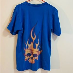 JNCO Jeans | Blue Skull With Flame Throwback Shirt